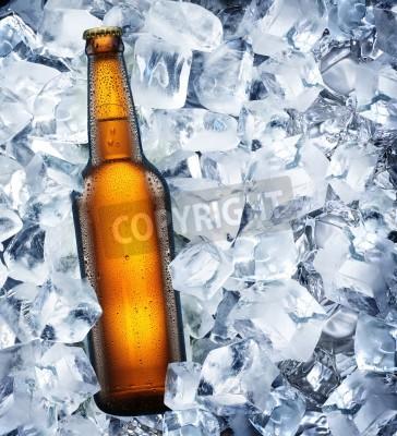 Fototapete Bottle of beer is in ice