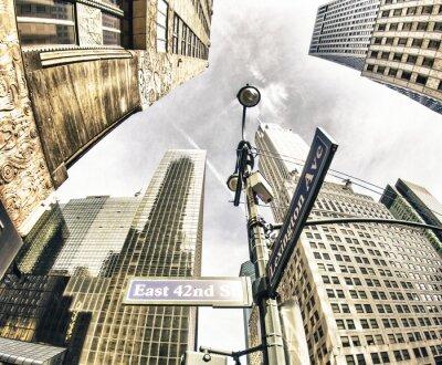 Fototapete Bottom-Up Ansicht von New York Wolkenkratzer