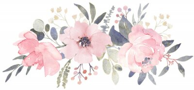 Fototapete Bouquet composition decorated with dusty pink watercolor flowers and eucalyptus greenery