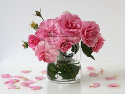 Bouquet Of Pink Roses In A Vase Floral Still Life Fototapete