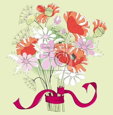 Bouquet von Mohn und Gänseblümchen