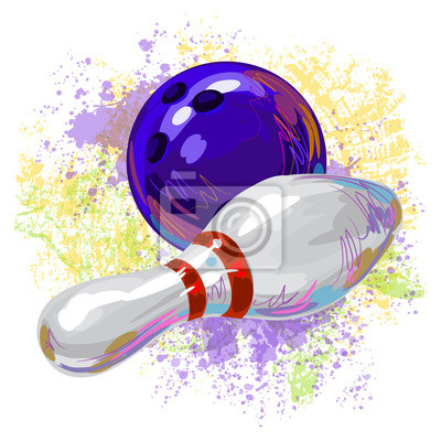 Bowling Pin und Kugel Alle Elemente sind in separaten Ebenen und gruppierte.