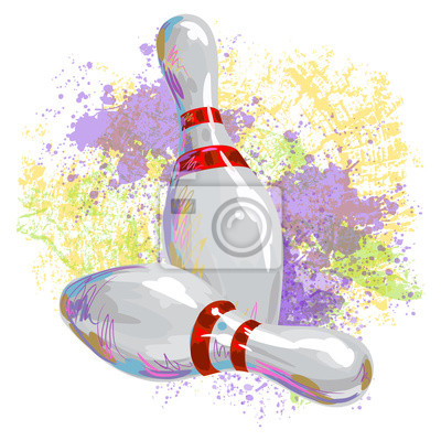 Bowlingkegel Alle Elemente sind in separaten Ebenen und gruppierte.