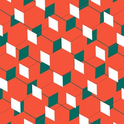 Fototapete Box abstrakten kubistischen Kunst Illusion in orange und grün