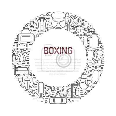 Boxen poster vorlage. vektor sport training line icons, kreis ...
