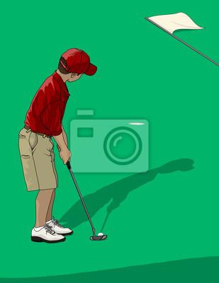 Boy Golfspieler-Setzen