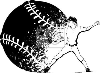 Boy Pitcher mit Splatter Baseball