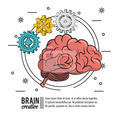 Brain creative poster template with information vector illustration graphic design