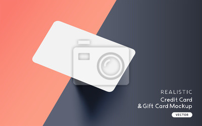 Fototapete Brand identity blank credit / gift / business card mockup template design with vector shadow effects.