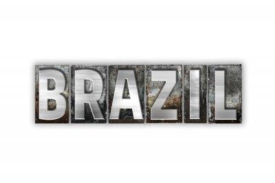 Fototapete Brasilien Konzept Isolierte Metall Buchdruck Typ