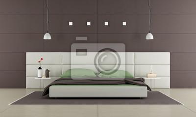 Braunes schlafzimmer mit modernem bett fototapete • fototapeten ...