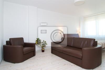 Braunes Sofa Mit Sessel Im Wohnzimmer Fototapete Fototapeten