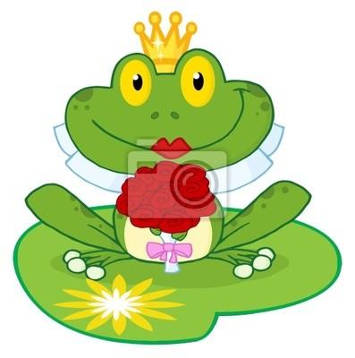 Braut frosch cartoon-figur auf einem blatt fototapete • fototapeten ...