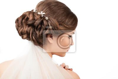Braut Mit Hochzeit Frisur Und Schleier Auf Weissem Hintergrund