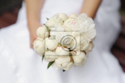Braut Mit Hochzeitsstrauss Pfingstrosen Fototapete Fototapeten