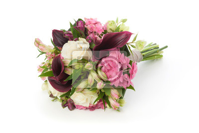 Brautstrauss Von Rose Hydrangea Und Calla Blumen Fototapete