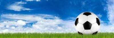Fototapete Breite Retro-Fußball auf Gras-Banner vor blau bewölktem Himmel