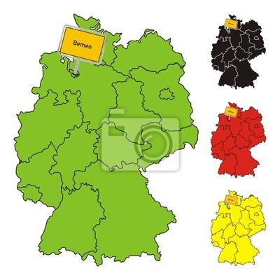 Bundesland Bremen Karte.Fototapete Bremen Deutschland Bundesland Karte