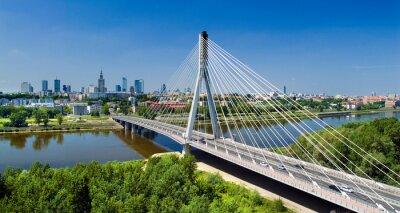 Fototapete Bridge in Warsaw over Vistula river