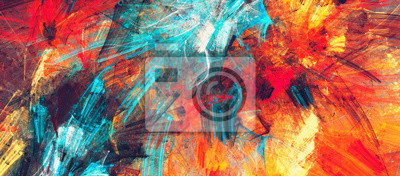 Fototapete Bright artistic splashes. Abstract painting color texture. Modern futuristic pattern. Dynamic bright vibrant background. Fractal artwork for creative graphic design
