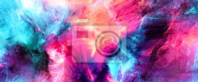 Fototapete Bright artistic splashes. Abstract painting color texture. Modern futuristic pattern. Multicolor dynamic background. Fractal artwork for creative graphic design
