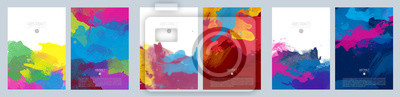 Fototapete Bright colorful vector paint splash background template set for brochure, poster or flyer