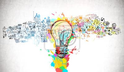 Fototapete Bright idea and creative thinking