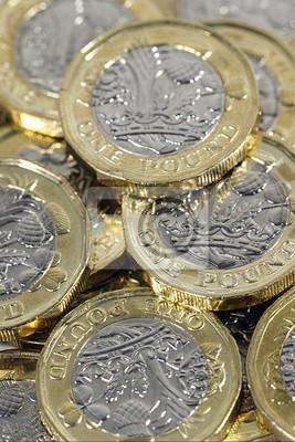 Britische Pfund Münzen In Einem Vertikalen Format Fototapete