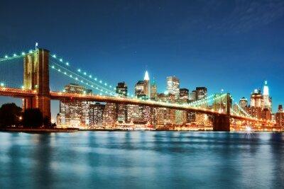 Fototapete Brooklyn -Brücke bei Nacht