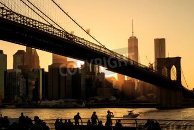 Fototapete Brooklyn Brücke bei Sonnenuntergang, New York City