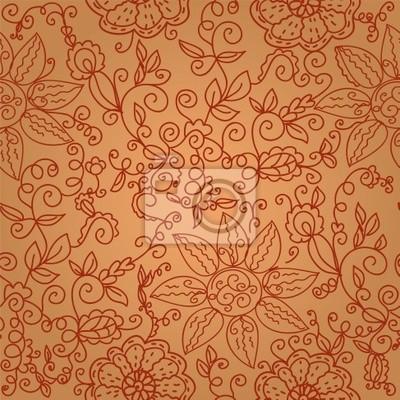 Brown floral seamless verzieren Muster mit wirbelt