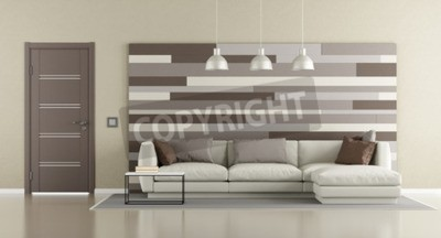 Fototapete Brown Und Beige Modernes Wohnzimmer Mit Sofa, Geschlossene Tür  Und Dekorative Platte An Der