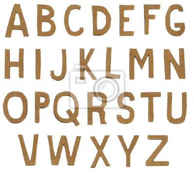 Brown zerrissenes Papier Buchstaben des Alphabets