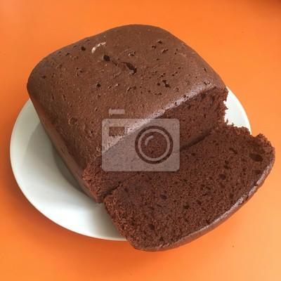 Brownie Kuchen Auf Einem Weissen Teller Schneiden Stuck Kuchen
