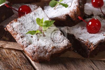 Brownie Kuchen Mit Minze Und Kirsche Makro Horizontal Fototapete