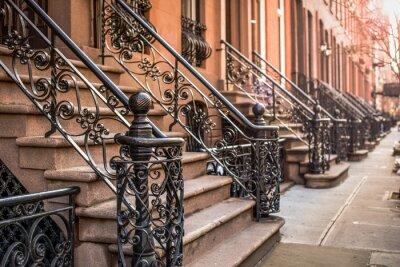 Fototapete Brownstone Apartments im Stadtteil Chelsea in New York