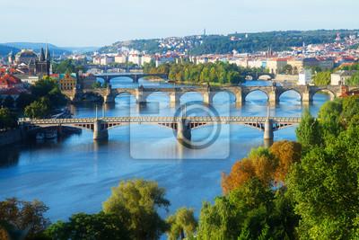 Fototapete Brücken von Prag über VLtava