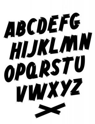 Brush font. Hand lettering. Editable vector alphabet.