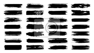 Fototapete Brush paint strokes. Texture brushes and modern grunge brush lines. Ink brush artistic design element for frame design. Vector isolated elements set. Grungy black swatches. Rough smears and stains