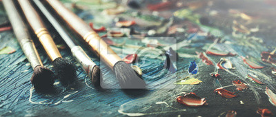 Fototapete brushes on canvas