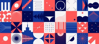 Fototapete Brutalism shapes. Abstract minimal background. Composition of red and blue geometric figures in squares. Decorative modernism design elements. Vector flat forms or concentric circles