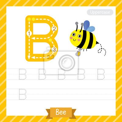 Buchstabe b großbuchstaben übungsarbeitsblatt mit biene für kinder ...