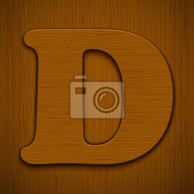 "Buchstabe ""D"". Holz-Alphabet. Vektor-Illustration."
