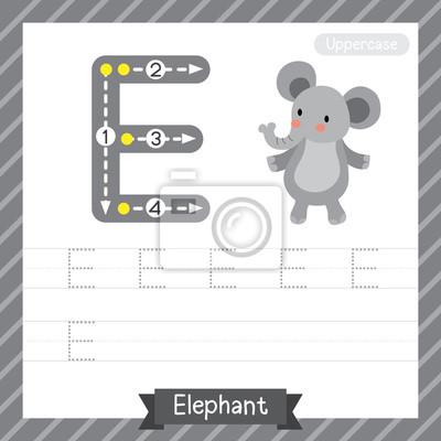 Buchstabe e großbuchstaben übungsarbeitsblatt mit elefanten für ...