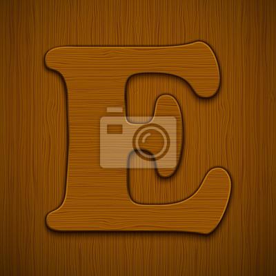 "Buchstabe ""E"". Holz-Alphabet. Vektor-Illustration."
