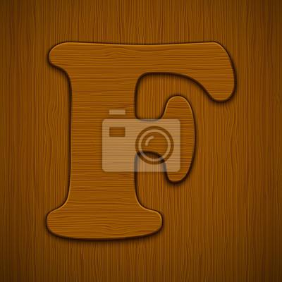 """Buchstabe """"F"""". Holz-Alphabet. Vektor-Illustration."""