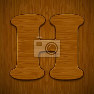 "Buchstabe ""H"". Holz-Alphabet. Vektor-Illustration."