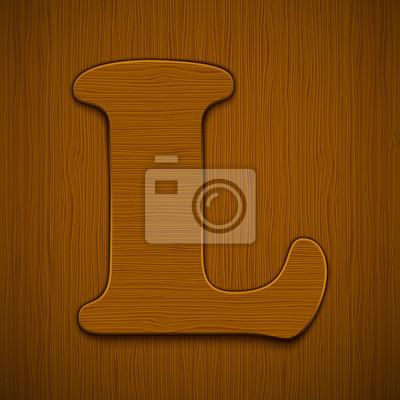 "Buchstabe ""L"". Holz-Alphabet. Vektor-Illustration."