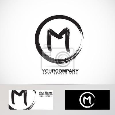 Buchstabe M Grunge Kreis Logo Fototapete Fototapeten Identität