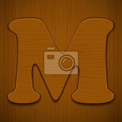 """Buchstabe """"M"""". Holz-Alphabet. Vektor-Illustration."""